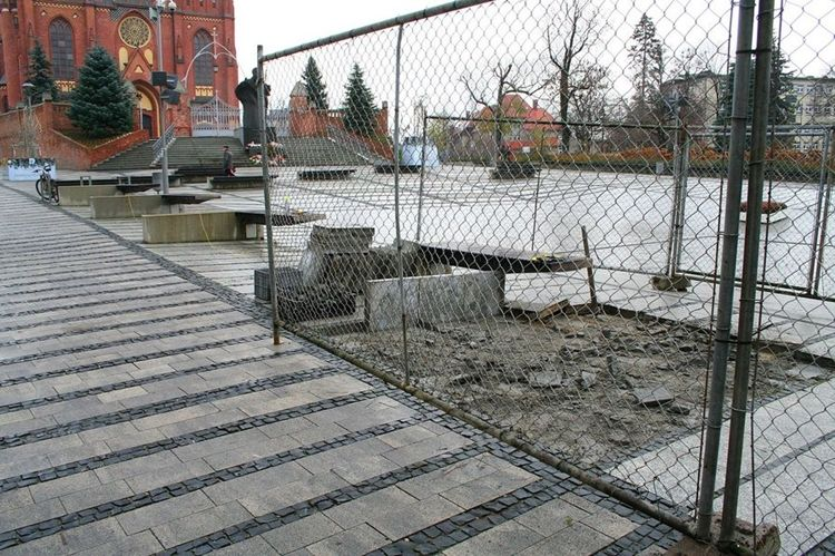Plac przed bazyliką będzie zielony. Trwa sadzenie drzew