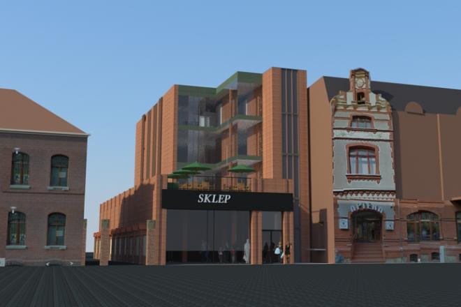 Wizualizacja kompleksu handlowo-usługowego przy ul. Wojciecha Korfantego w Rybniku