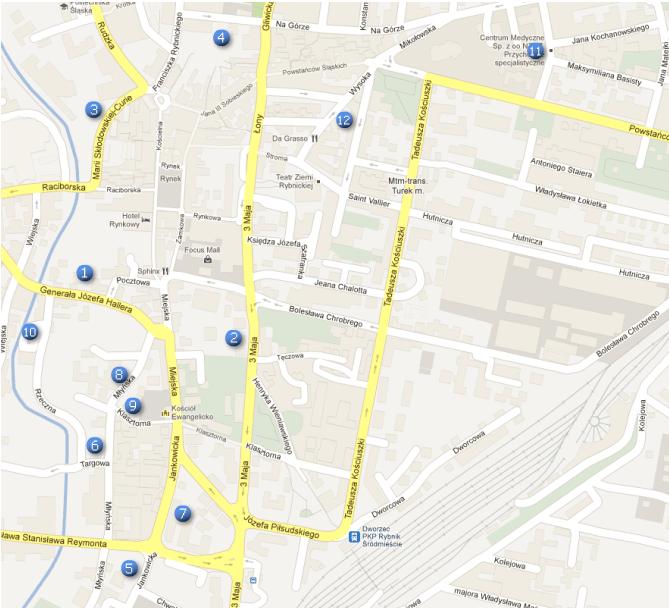 mapa parkingów wRybniku