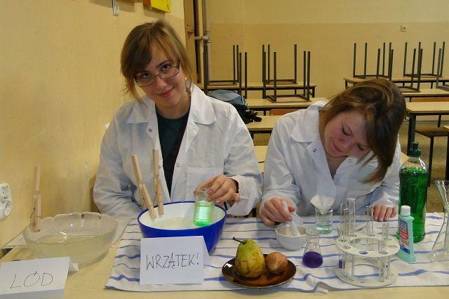 Pokaz izolowania DNA z cebuli i gruszki metodą kuchenną - Iga Fojcik i Agnieszka Kubek z kl.2b