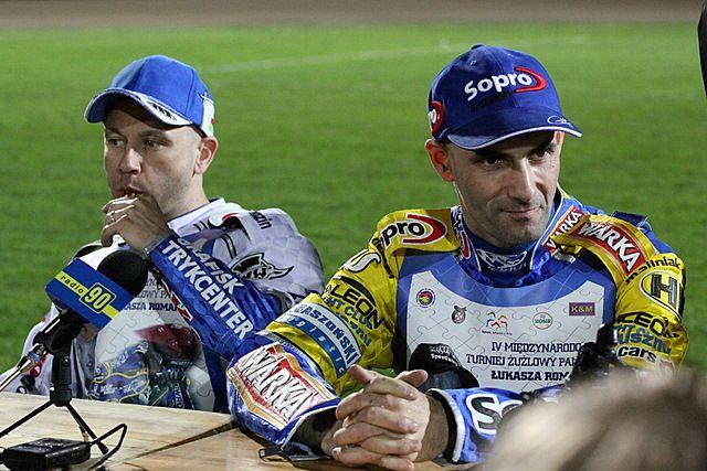 Tomasz Gollob (z prawej) gościł w Rybniku podczas Turnieju Pamięci Łukasza Romanka.