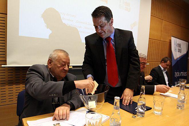 Debata przed I turą wyborów w 2010 roku. Na zdjęciu Rudolf Kołodziejczyk i Kornel Pająk.