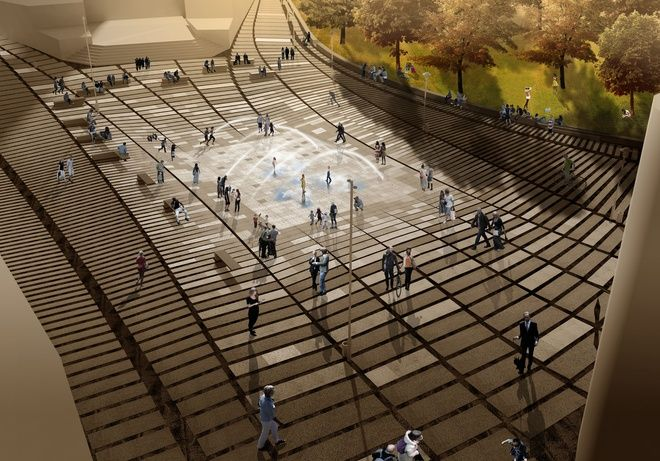 Wizualizacja Placu Wody przed bazyliką