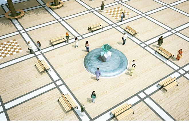 Wizualizacja nowoczesnej fontanny