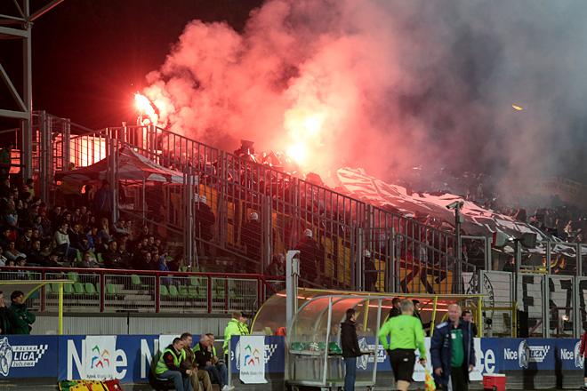 Kibice GKS-u Katowice podczas meczu z Energetykiem ROW