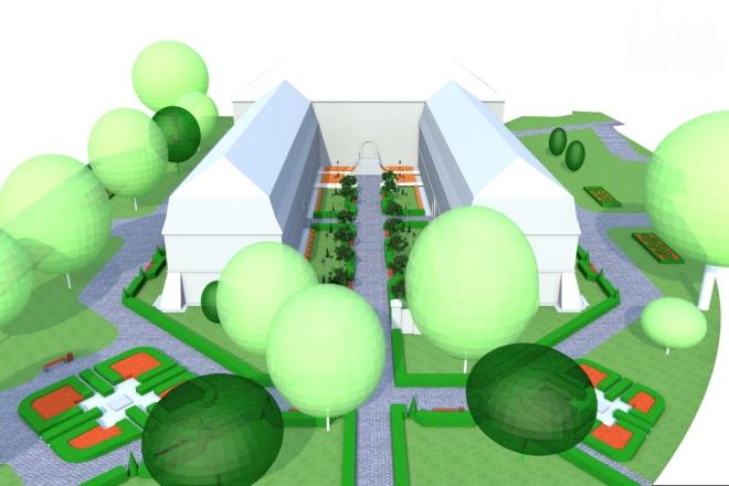 Wizualizacja ogrodu wokół Sądu Rejonowego w Rybniku