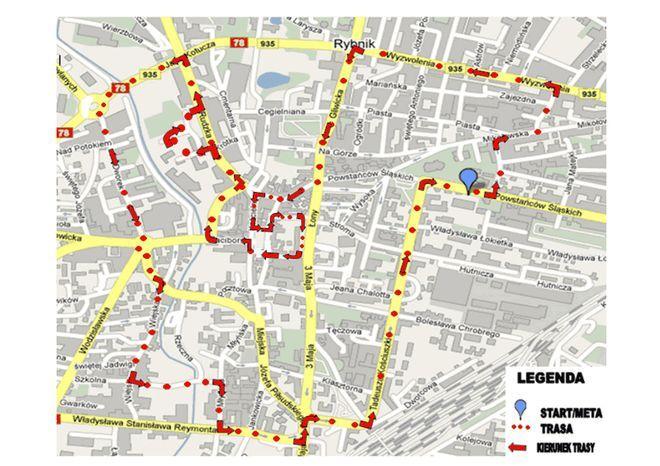 Trasa IV Rybnickiego Półmaratonu Księżycowego