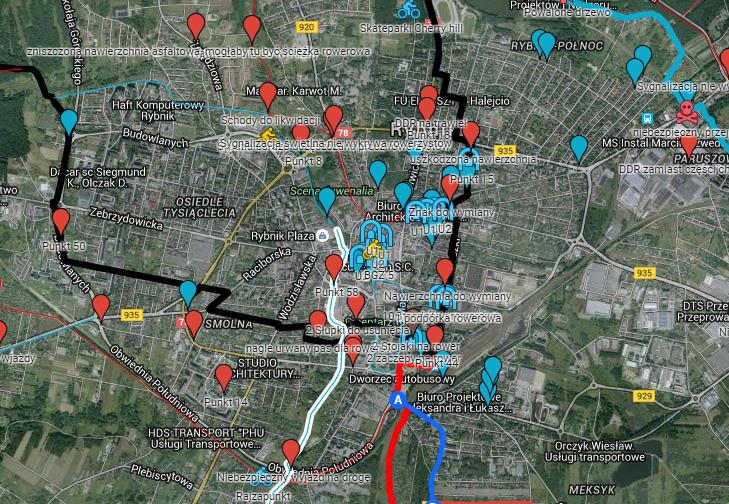Rowerzyści działają i zaznaczają swoje uwagi dotyczące infrastruktury rowerowej