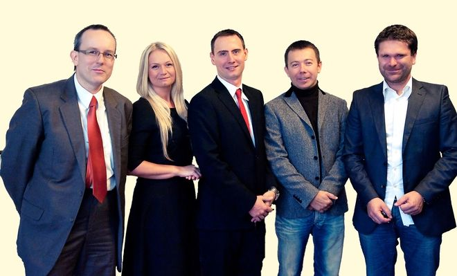 Udziałowcy Hostersi Sp. z o.o. Od lewej: Tomasz Dwornicki, Magdalena Zawada, Radosław Kuczera, Tomasz Pruszczyński i Damian Rutkowski.