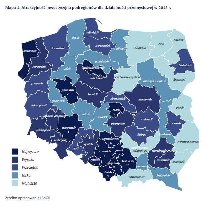 Atrakcyjność podregionów dla działalności przemysłowej