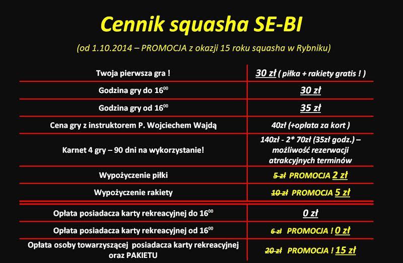 Cennik squasha od 1 października