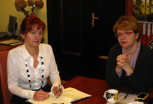 Dorota Zawadzka podczas spotkania z wiceprezydent Joanną Kryszczyszyn.