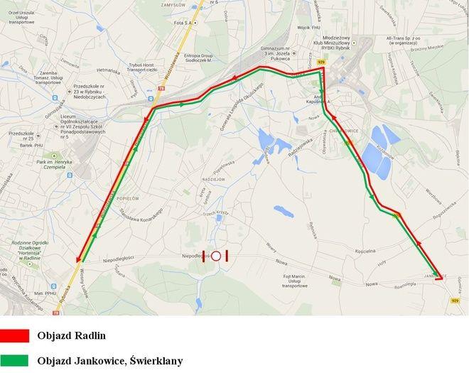 Mapa objazdów ulicy Niepodległości