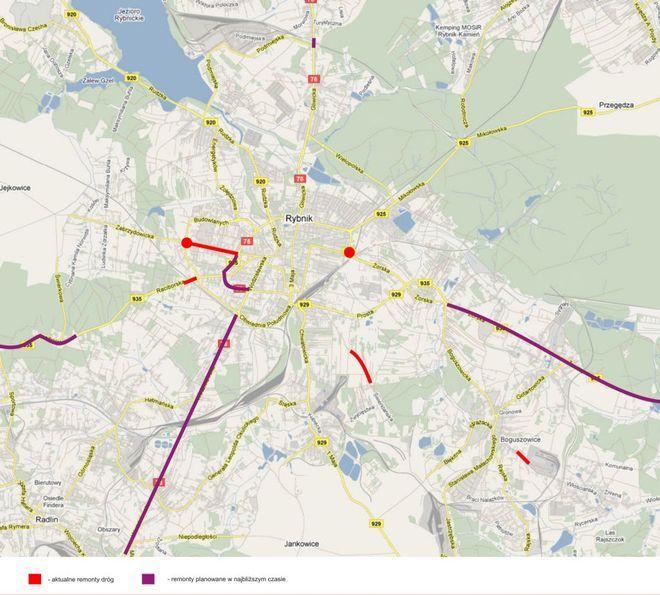 Mapa obecnych i przyszłych remontów dróg w Rybniku