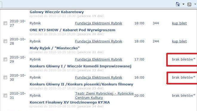 Brak biletów - taki komunikat widniał na stronie www.biletynakabarety.pl już o 12.15