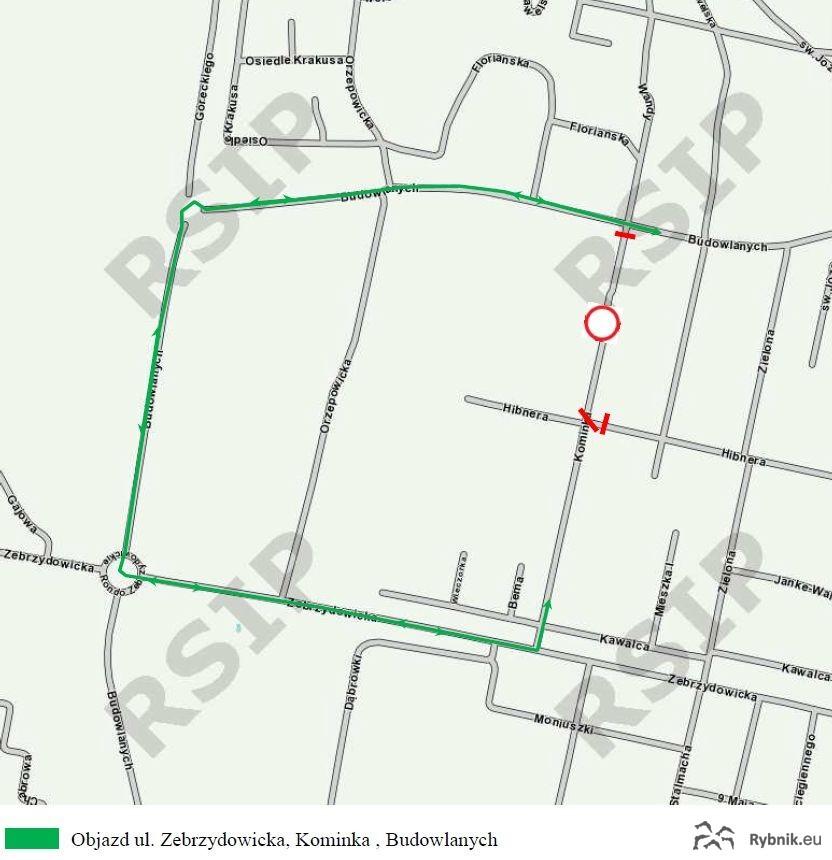 Mapa z objazdem obowiązującym od 25 sierpnia