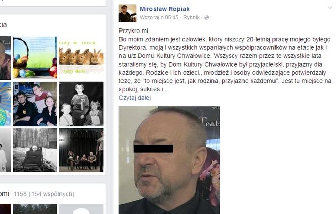 Mirosław Ropiak zaatakował Adama Świerczynę na Facebooku. Post zilustrował zdjęciem dyrektora z czarnym paskiem na oczach.