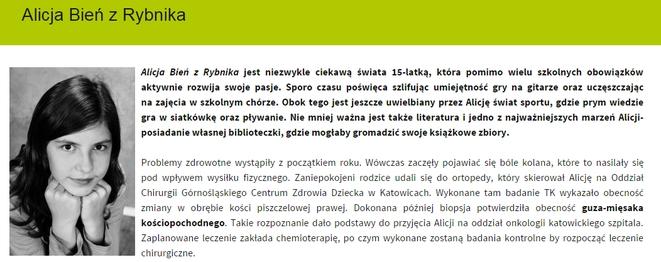 Pieniądze zebrane na rzecz śp. Pauliny Szołtysek zostaną przeznaczone m.in. na wsparcie chorzej na nowotwór Alicji Bień