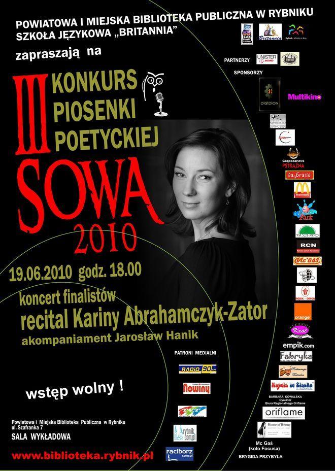 Plakat III Konkursu Piosenki Poetyckiej SOWA
