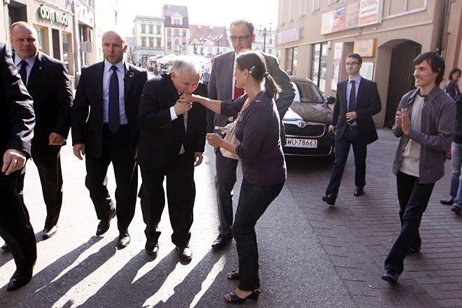 Jarosław Kaczyński na ul. Sobieskiego