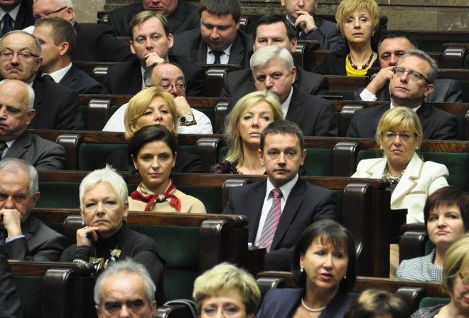 Marek Krząkała na początku kadencji sejmu, jeszcze obok posłanki Joanny Muchy.