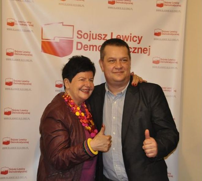 Joanna Senyszyn z Kornelem Pająkiem, kandydatem SLD na prezydenta Rybnika