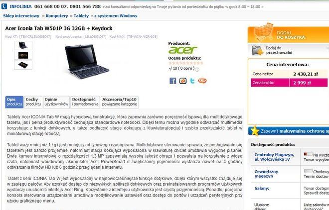 Znalezienie tabletu odpowiadającego specyfikacji rybnickiego magistratu zajęło nam w Internecie chwilę. Czy właśnie sprzęt firmy Acer trafi na biurka radnych - na razie nie wiadomo.