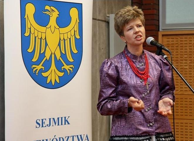 Betina Zimończyk z Rybnika na sesji sejmiku województwa mówiła o gwarze śląskiej