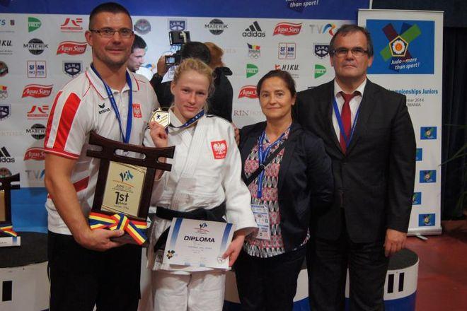 Artur Kejza (trener Polonii Rybnik), Anna Borowska, Joanna Majdan (trenerka kadry narodowej juniorek) i Juliusz Kowalczyk (prezes Polonii Rybnik)
