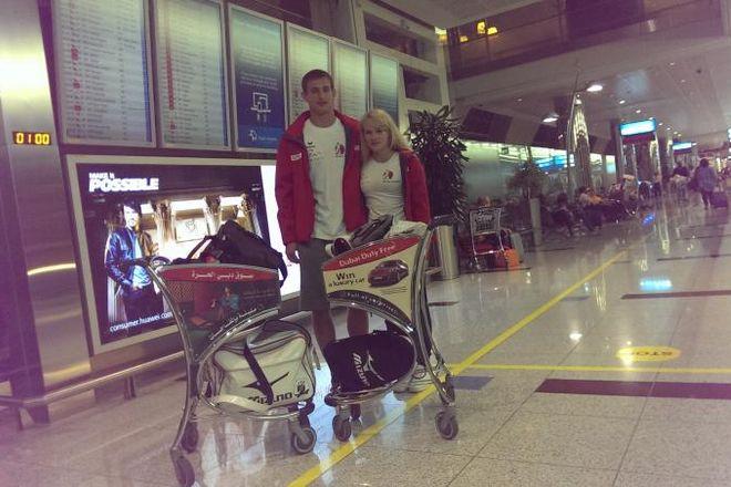 Anna Borowska i Piotr Kuczera przed wylotem do Gwangju