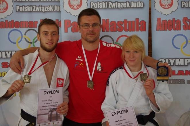 Adrian Wala, trener Artur Kejza i Anna Borowska