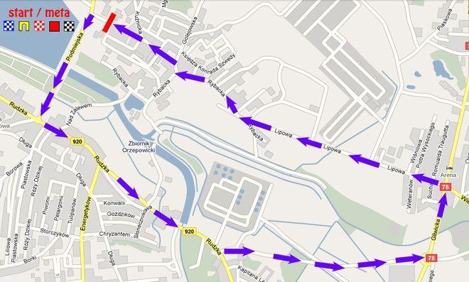 Planowana trasa wyścigu