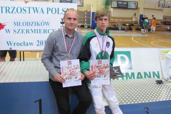 Kacper Kordas i trener Artur Fajkis