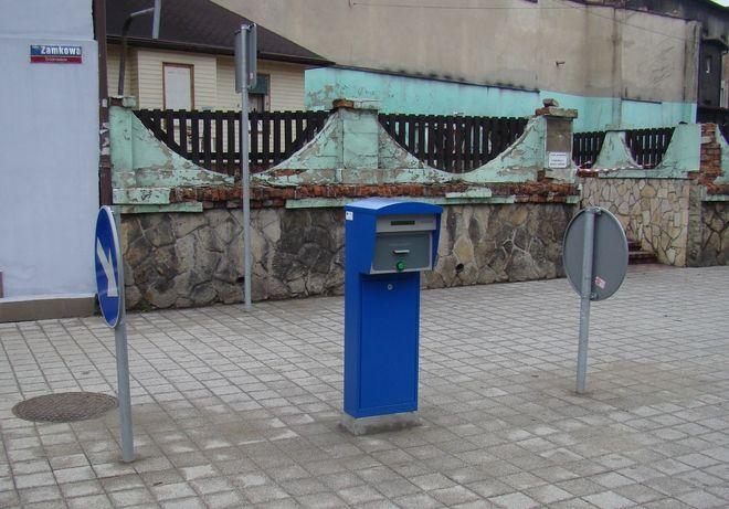 Biletomat ustawiony przy ul. Zamkowej