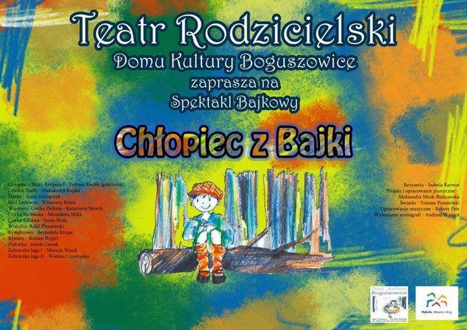 Plakat spektaklu ''Chłopiec z bajki''.