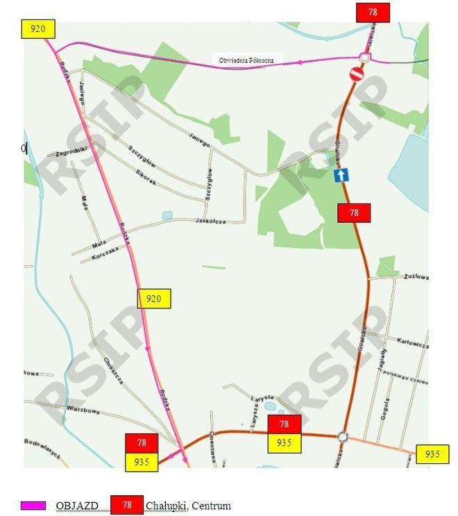 Wprowadzony zostanie objazd dla pojazdów jadących w kierunku Chałupek i do centrum.